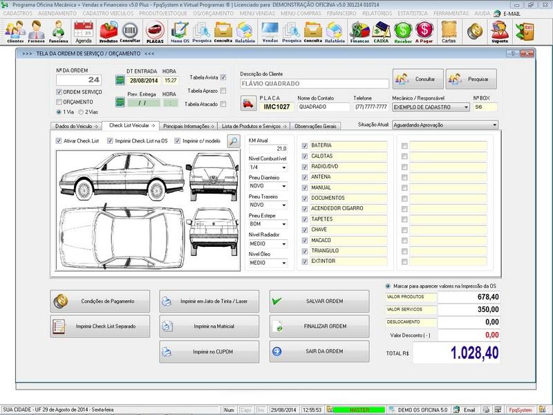 Programa para oficina mec nica com ordem de servi o check list vendas e financeiro v5 0 plus - Programas para oficina ...